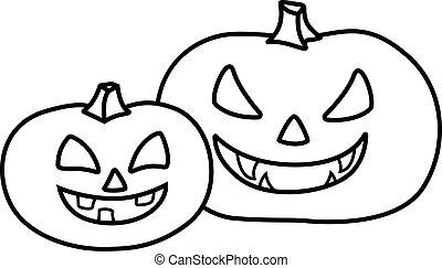 lanterna, cricco, halloween, holiday., facce, simbolo, prints., due, -, lineare, vettore, coloring., cartelle, zucche, outline., immagine, intagliato
