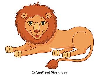 lanuginoso, regally, leone, divertire, cartone animato, dire bugie, criniera