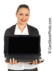 laptop, affari donna, presa a terra, felice