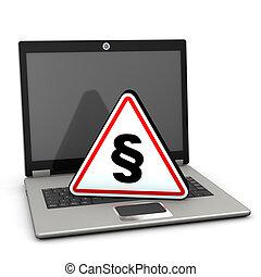 laptop, attenzione, triangolo, paragrafo