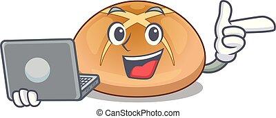 laptop, caldo, croce, panini dolci, taglio, cartone animato