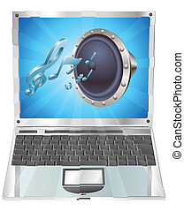 laptop, concetto, altoparlante, icona