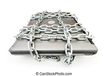 laptop, concetto, sicurezza computer, catena