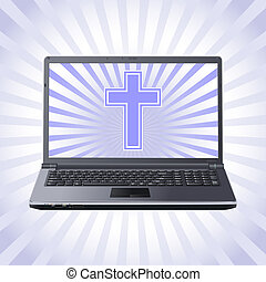 laptop, croce