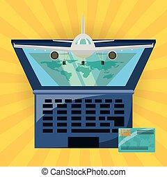 laptop, destinazione, aeroplano, viaggiare