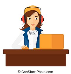 laptop., donna, lavorativo