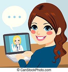 laptop, dottore, femmina, linea