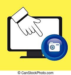laptop, macchina fotografica, mano, icona