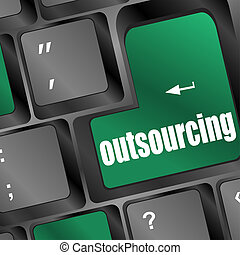 laptop, outsourcing, chiave, tastiera