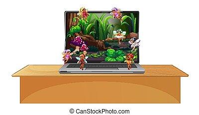 laptop, scena, desktop, schermo, racconto, fata