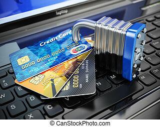 laptop, serratura, concept., credito, internet, cartelle, keyboard., sicurezza