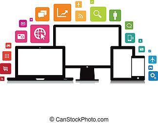 laptop, smartphone, app, tavoletta, desktop