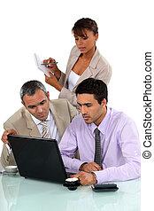 laptop, vendite, lavorativo, squadra