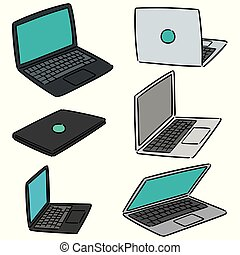 laptop, vettore, set