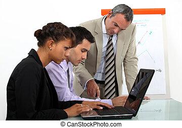 laptops, vendite, lavorativo, squadra