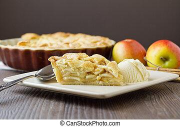 largo, fetta, crema, torta mela, ghiaccio, orizzontale