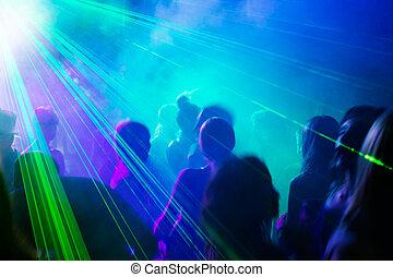 laser, persone, ballo, light., sotto, festa