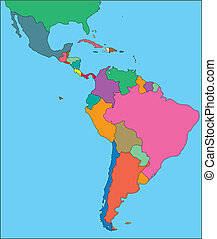 latino, editable, america, paesi