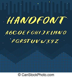 latino, lettere, alfabeto, -, giallo, vettore, font, scritto mano