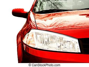 lato, automobile, -, mezzo, fronte, sport, rosso