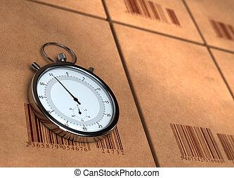 lato, destra, barecodes, sinistra, render, spazio, -, sopra, posizionato, copia, sfocato, scatole, cronometro, molti, cronometro, cartone, lato, 3d