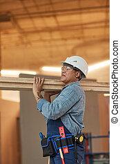 lato, femmina, legno, lavoratore, vista, portante