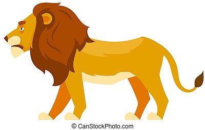 lato, leone, vista., standing
