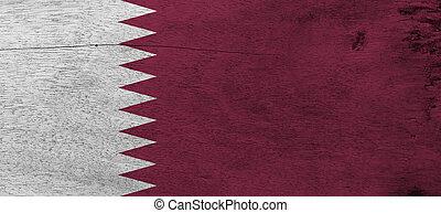 lato, nove, fondo., lato, marrone, qatar, zona, struttura, qatari, banda, sollevamento, mosca, legno, bianco, separato, triangles., grunge, bandiera, piastra