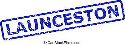 launceston, rettangolo, arrotondato, sigillo, graffiato, stile, francobollo, cornice