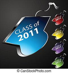 laureandosi, bottoni, berretto, classe
