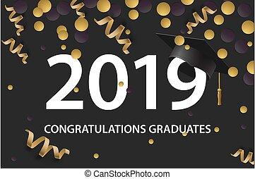 laureandosi, scheda, illustration., oro, vettore, classe, colors., 2019., invito, festa, manifesto, grad, augurio