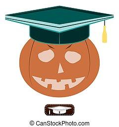 laureato, cappello, halloween, zucca
