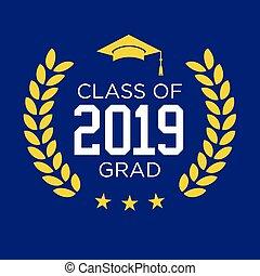 laureato, classe, 2019, stelle, congratulazioni, nappa, tipografia