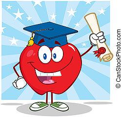 laureato, diploma, presa a terra, mela