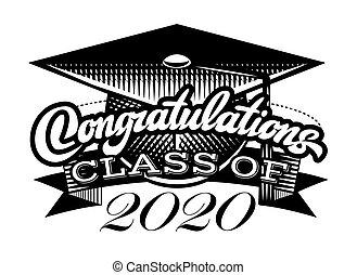 laureato, vettore, classe, congrats, graduazione, congratulazioni, grad, 2020.