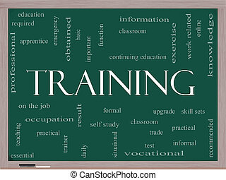 lavagna, addestramento, concetto, parola, nuvola