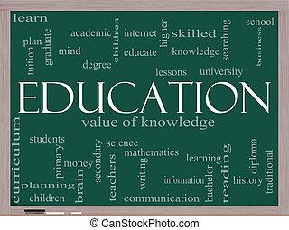 lavagna, concetto, parola, educazione, nuvola