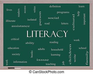 lavagna, concetto, parola, nuvola, alfabetismo