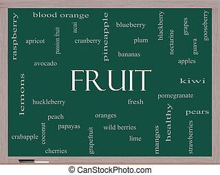 lavagna, concetto, parola, nuvola, frutta
