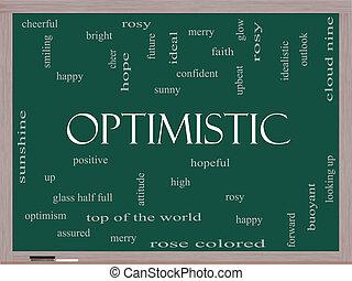 lavagna, concetto, parola, ottimistico, nuvola