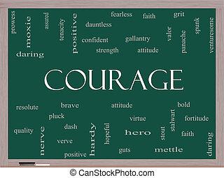 lavagna, coraggio, concetto, parola, nuvola