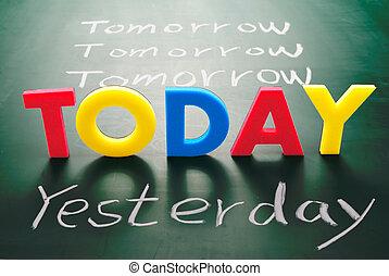 lavagna, domani, ieri, parole, oggi