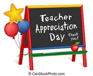 lavagna, insegnante, apprezzamento, giorno, stelle, cavalletto, palloni, bambini