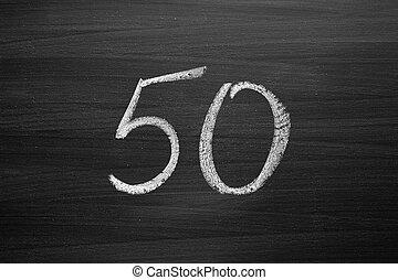 lavagna, numero, enumeration, cinquanta, gesso, scritto
