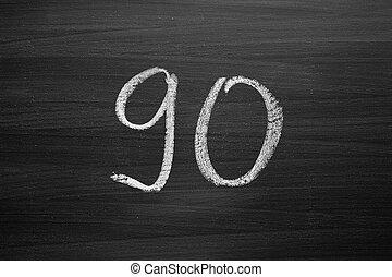 lavagna, numero, enumeration, gesso, scritto, novanta