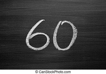 lavagna, numero, enumeration, gesso, scritto, sessanta