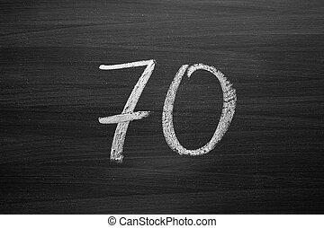 lavagna, numero, enumeration, gesso, scritto, settanta
