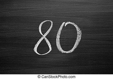 lavagna, ottanta, numero, enumeration, gesso, scritto