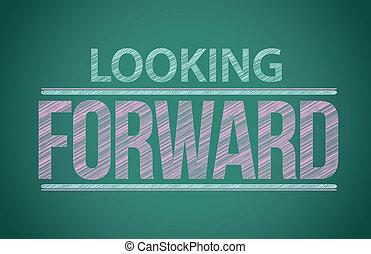 "lavagna, scritto, ""looking, parole, forward"""