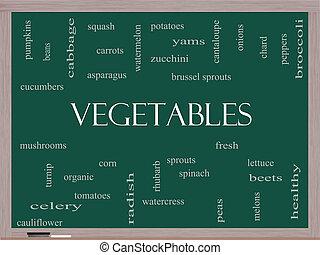 lavagna, verdura, concetto, parola, nuvola
